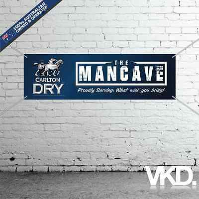 Carlton Dry Mancave Banner - Man Cave Bar New Custom Personalised Beer Can