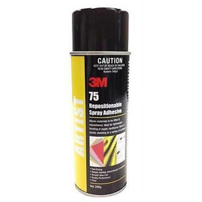 3M Repositionable 75 Spray Adhesive 290g Bonding Paper Cardboard Fabric Plastic