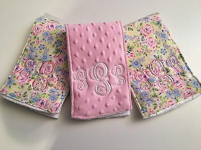 Monogrammed Or Personalized Burp Cloths -3 Pastel Floral