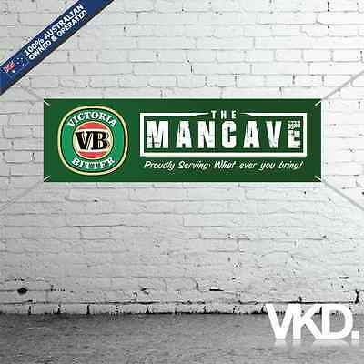 Victoria Bitter Mancave Banner - Man Cave Bar New Personalised MB VB Beer Can