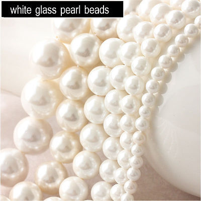 Lots Glass Pearl Round Loose Beads Bridal Jewelry Accessories 4/6/8/10/12mm