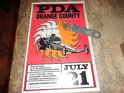 """ORANGE COUNTY 11""""x 17""""  PDA RACE POSTER FROM 1974  NHRA  FUNNY CAR DRAG RACE"""