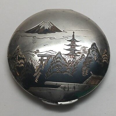 Vintage Japan Sterling Silver Two Tone Damascene Powder Compact