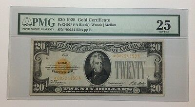 1928 $20 Star Note Gold Certificate Fr2402*, PMG VF25, *00224150A