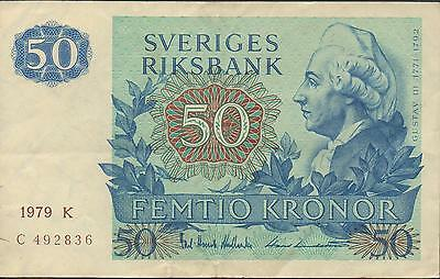 Sweden 50 kronor 1979 P 53c Circulated Banknote