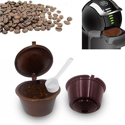 1/2/6Pcs Refillable Reusable Coffee Capsules Cups For Nescafe Dolce Gusto +Spoon