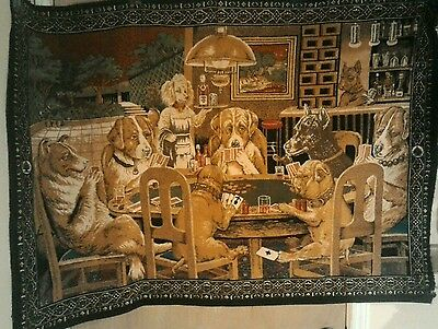 Dogs Playing Poker with chips on table, vintage