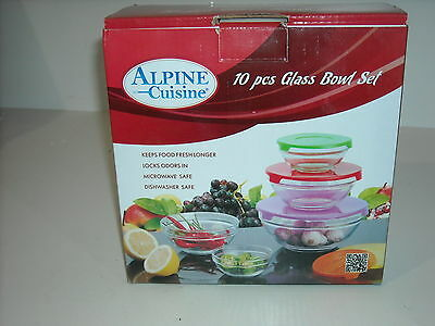 Set of 5 Alpine Cuisine Glass Serving Storage Mixing Bowls with Covers