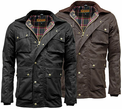 Mens Game Utilitas Waxed Cotton Jacket Utility Multi Pocket Branded Antique Stud