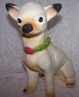 """Vintage  Chihuahua Dog Statue Figurine Bank  Made in Mexico  8"""" Tall 5"""" wide"""