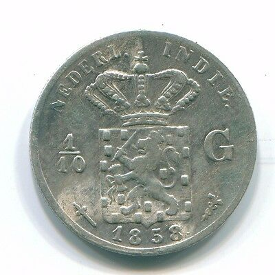 1858 Netherlands East Indies 1/10 Gulden Silver Colonial Coin Nl13165#3