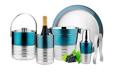 New Barware Cocktail Shaker Cuisinier Stainless Steel 6 Piece Bar Set (Aqua)
