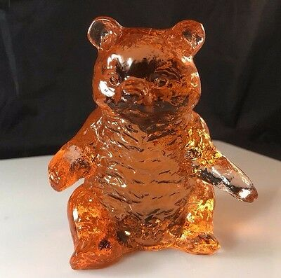 "Vintage Mosser Glass Bear Figurine 3.75"" Tall Peach - Rosy Pink"