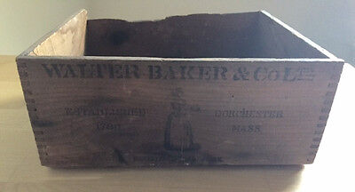 Antique Vintage Walter Baker Co Paris Expo 1900 Large Slotted Wooden Box