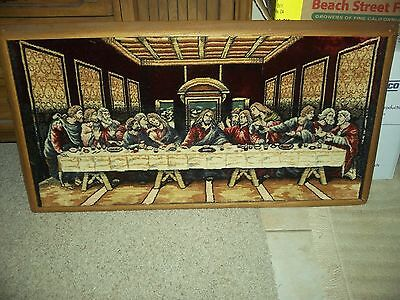 'The Last Supper' Large Picture 40 1/2 X 22 wood framed..velvet. .great colors