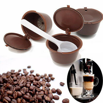 3Pcs Refillable Reusable Coffee Capsules Pods Cups Fits For Dolce Gusto Machine