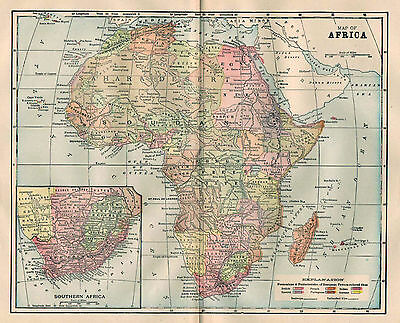 Africa Map, 1897 Antique Wall Decor 14.75 x 11 in 19th Century African Continent