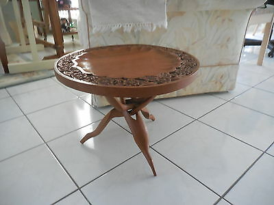Round Carved Wooden  Table With Carved Folding Interlocking Legs