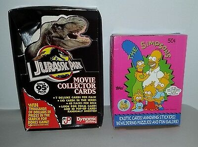 2 empty boxes. TOPPS Simpsons & Dynamic Marketing Jurassic Park trading cards