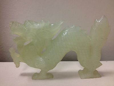 Chinese Hand Carved Jade Dragon Statue