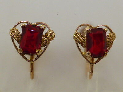 9ct Solid Yellow Gold & Ruby Glass Heart Screw On Earrings Art Nouveau Vintage