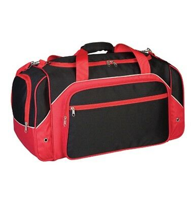 """Gym Sport Duffle Travel Weekend Camp Bag  21"""" PM2141 Black-Red"""