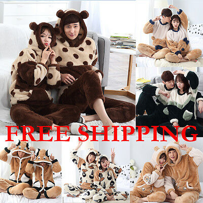 Flannel Pajamas Unisex Adult Winter Warm FASHION Couple Cartoon Onesie Sleepwear