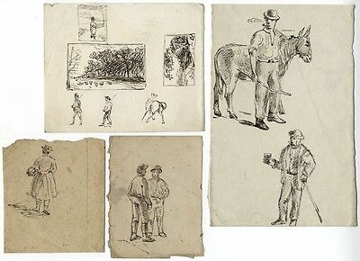 Figures Studies on Four Sheets - Four original 19th-century pen & ink drawings