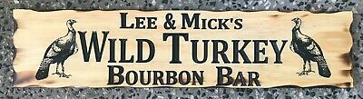Personalised Wild Turkey Bar Rustic Pine Timber Sign 600mm x 140mm