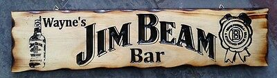 Personalised Jim Beam Bar Rustic Pine Timber Sign 600mm x 140mm