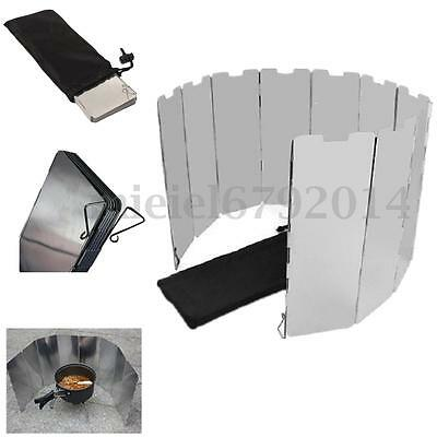 1/2x Foldable 10 plates Fold Camping Cooker Gas Stove Wind Shield Screen Outdoor