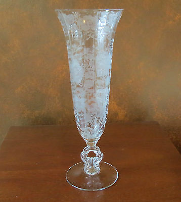 "Cambridge Wildflower #1238 Keyhole Stem Flared Top 12"" Vase Crystal"