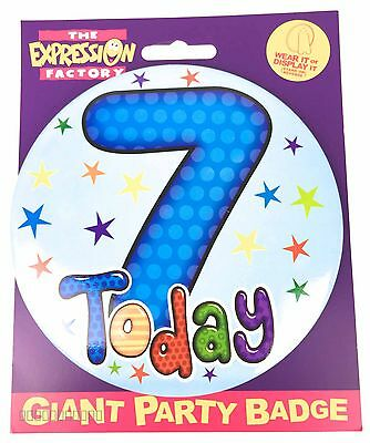 7 Today Birthday Badge Age 7th Large Jumbo Boys Star Party Pin On Accessory Gift