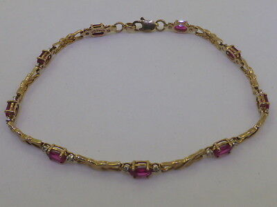 9ct SOLID YELLOW GOLD & CREATED RUBY SET CHAIN BRACELET 18.5cm