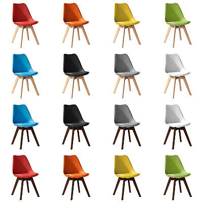 Jamie Dining Chair - Eiffel Inspired - Solid Wood + ABS Plastic + Padded Seat