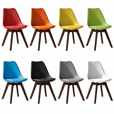 Jamie Walnut colour Tulip Dining Chair, Eiffel Inspired, Solid Wood Padded Seat