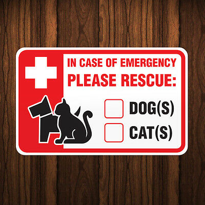 Pet Safety Sticker/Decal - IN EMERGENCY PLEASE RESCUE DOGS CATS Animals Inside