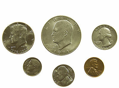 United States, Dollar To Cent Type Set, 6 Coins, Usa, 20Th Century