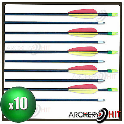 "10 x FIBREGLASS 27"" ARROWS FOR JUNIOR LONG BOWS, RECURVE BOWS AND COMPOUND BOWS"