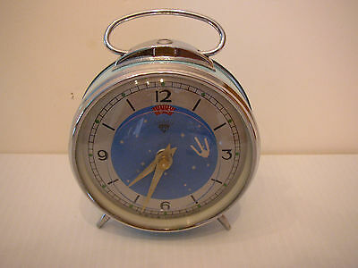 Alarm Clock Sputnik Satellite Wind-Up Shanghai Diamond Factory Vintage GOOGIE