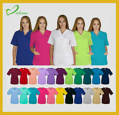 Medical Scrub Womens Tunic Top Health Beauty Uniform 23 Colours HIGH QUALITY