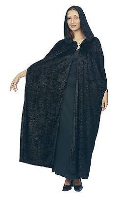 FANCY DRESS Gothic Hooded Velvet Cloak.Black