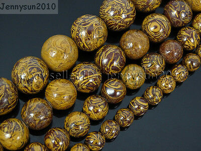 "Natural Elephant Skin Jasper Gemstone Round Beads 15.5"" 6mm 8mm 10mm 12mm"