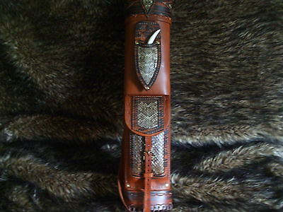 Rattlesnake  Broad Head Knife Leather Back Quiver/traditional Archery