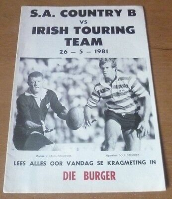 1981 - S.A. Country B v Ireland, Touring Match Programme.