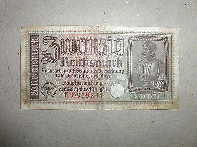 ORIGINAL WW2 Nazi Germany 20 Reichsmark banknote F0859244