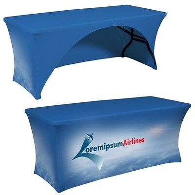 Stretch Fit Table Covers with full color custom print, 6ft open backside