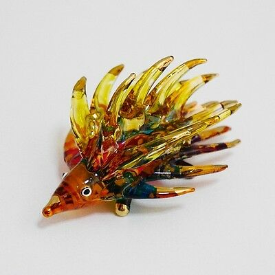 Hedgehog Figurine Animal Hand Paint Blown Glass Home Decorate Collectible Gift