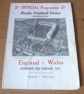 1931 - England v Wales, Five Nations Match Programme.