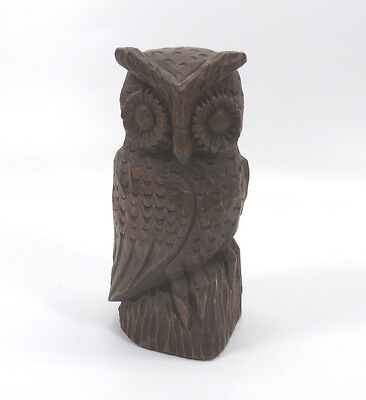 Owl Figurine Hand Carved Wood Wise Old Bird